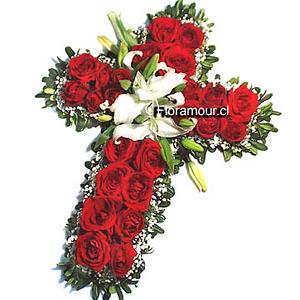 Cruz de flores fúnebres en colores  rojo y blanco