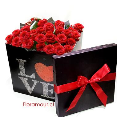 Caja de rosas cubo